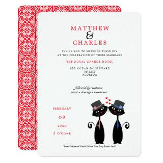 Lucky Black Cats Gay Marriage Purrr..fect Wedding Invitation