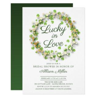 Lucky in Love Golden Shamrocks Bridal Shower Invitations