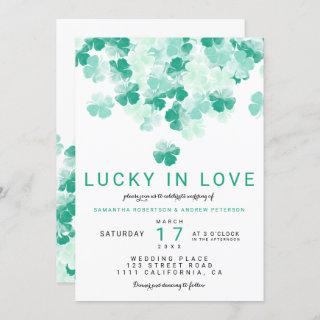 Lucky in love green clover St Patrick chic wedding Invitations