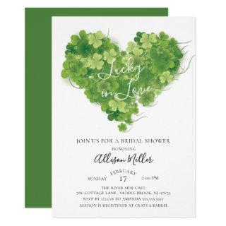 Lucky in Love Shamrock Heart Bridal Shower Invitations