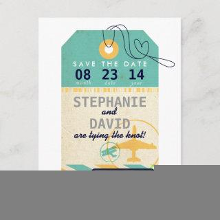 Luggage Tag Airmail Destination Wedding Save Date Save The Date