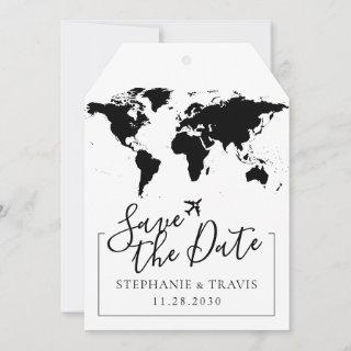 Luggage Tag Map Save the Date – Pick Any Colors