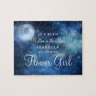 Lunar Sky Full Moon Be Our Flower Girl Proposal Jigsaw Puzzle