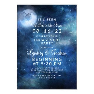 Lunar Sky Full Moon Celestial Engagement Party Invitations