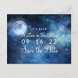 Lunar Sky Full Moon Celestial Galaxy Save the Date Announcement Postcard