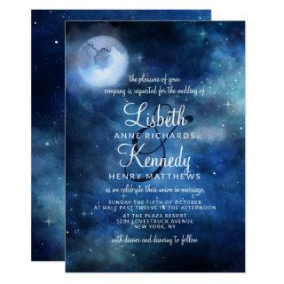 Lunar Sky Full Moon Celestial Galaxy Stars Wedding Invitation