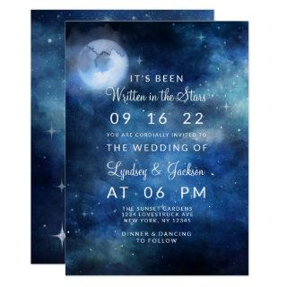 Lunar Sky Full Moon Celestial Galaxy Stars Wedding Invitations