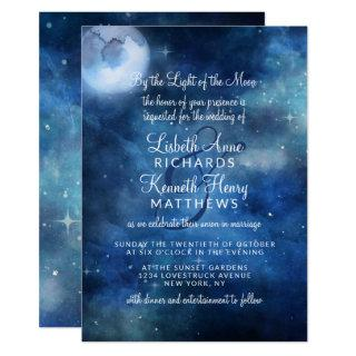 Lunar Sky Full Moon Celestial Stars Wedding Invitation
