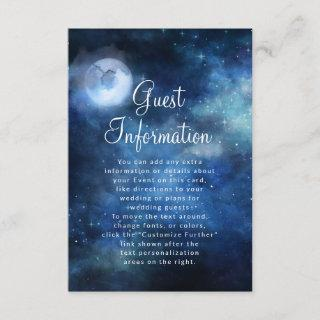Lunar Sky Full Moon Celestial Wedding Information Enclosure Card