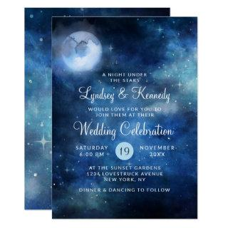 Lunar Sky Full Moon Night under the Stars Wedding Invitations