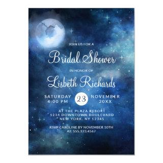 Lunar Sky Full Moon Stars Wedding Bridal Shower Invitations