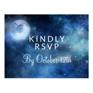 Lunar Sky Full Moon Stars Wedding Meal Choice RSVP Postcard