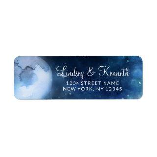 Lunar Sky Full Moon Stars Wedding Return Address Label