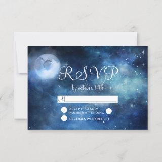 Lunar Sky Full Moon Stars Wedding RSVP Response