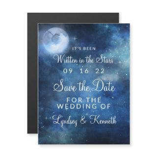 Lunar Sky Full Moon Stars Wedding Save the Date Magnetic Invitations