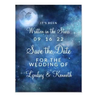 Lunar Sky Full Moon Stars Wedding Save the Date Magnetic Invitation