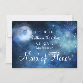 Lunar Sky Moon Be My Maid of Honor Proposal Card