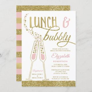 Lunch and Bubbly Bridal Shower Invite, Faux Gold