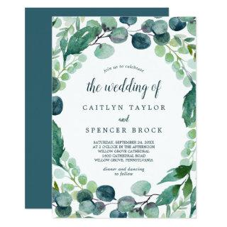 Lush Greenery and Eucalyptus All In One Wedding Invitations