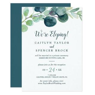 Lush Greenery and Eucalyptus Elopement Reception Invitations