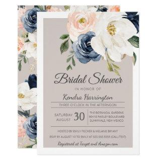 Lush Magnolia Rose Grey Navy & Blush Bridal Shower Invitations