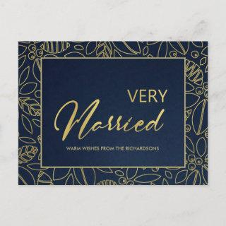 LUX NAVY GOLD HOLLY BERRIES VERY MARRIED CHRISTMAS HOLIDAY POSTCARD