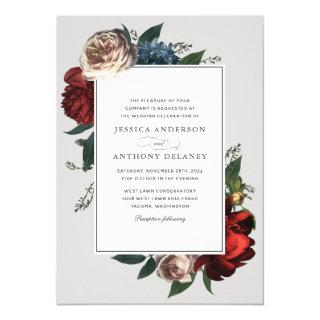 Luxe Elegant Floral Wedding Invitations