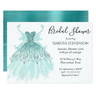 Luxe Fairy Wing Gown | Mint Green Bridal Shower Invitations