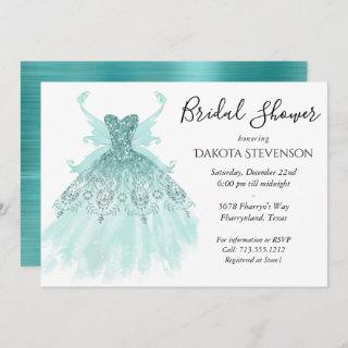 Luxe Fairy Wing Gown | Mint Green Bridal Shower Invitation
