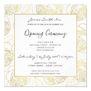 LUXE GOLD NAVY ROSE FLORAL GRAND OPENING CEREMONY INVITATION