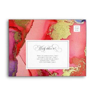 Luxurious Red Purple Gold Wedding Envelope