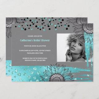 Luxury blue gray modern sunflower foil shimmer Invitations