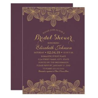 Luxury Elegant Gold Lace Plum Purple Bridal Shower Invitation