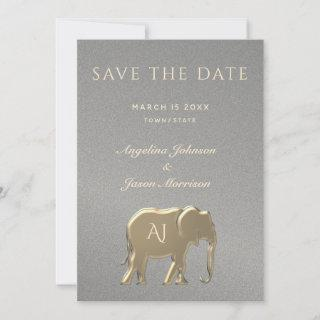 Luxury Elegant Silver and Gold Elephant Wedding Save The Date