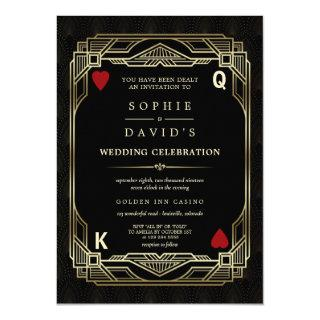 Luxury Gatsby Casino Las Vegas Poker Wedding Invitations