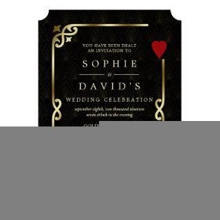 Luxury Gatsby Casino Vegas Poker Wedding Invitation