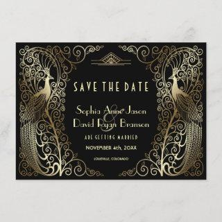 Luxury Gold Art Deco Peacocks Save The Date