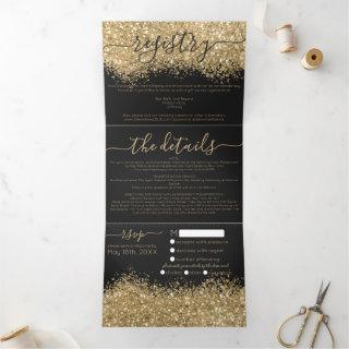 Luxury Gold Black Glitter Registry Detail RSVP Tri-Fold Invitations