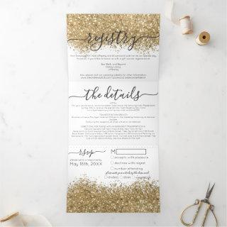 Luxury Gold White Glitter Registry Detail RSVP Tri-Fold Invitations