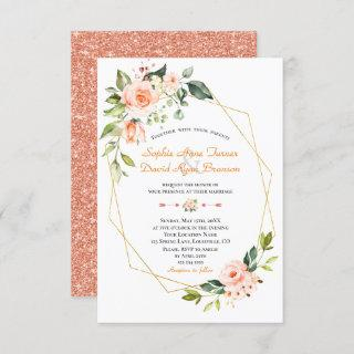 Luxury Living Coral Flowers Gold Wedding Invitations
