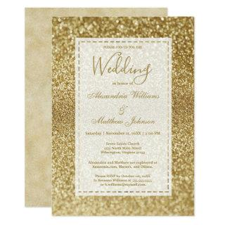 Luxury modern elegant gold glitter Wedding Invitations