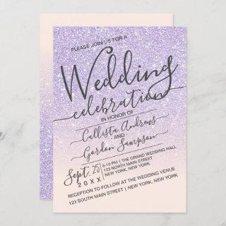Luxury Purple Pink Sparkly Glitter Ombre Wedding Invitations