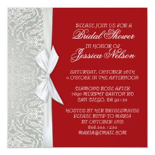Luxury Ribbon Silver/Red Damask Shower Invite