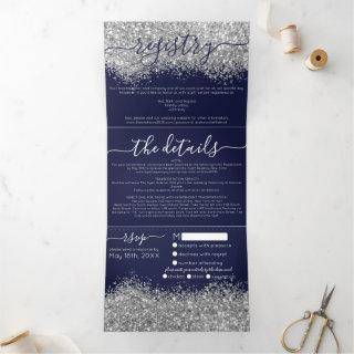 Luxury Silver Navy Glitter Registry Detail RSVP Tri-Fold Invitation