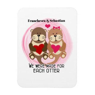Made for Each Otter Cute Animal Couple with Hearts Magnet