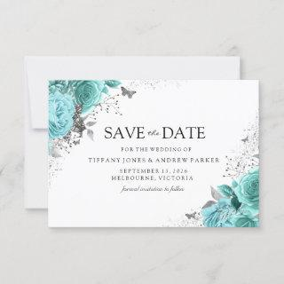 Magical Blue Teal Aqua Roses Floral Wedding Save The Date