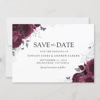 Magical Burgundy Maroon Roses Floral Wedding Save The Date