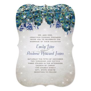 Magical Fairy Tale Lights Navy Turquoise Peacock Invitations