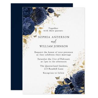 Magical Navy Indigo Blue Roses & Gold Wedding Invitations