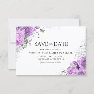 Magical Purple Lavender Roses Floral Wedding Save The Date